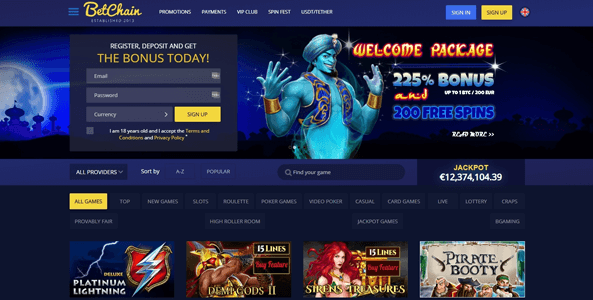 betchain casino website screen