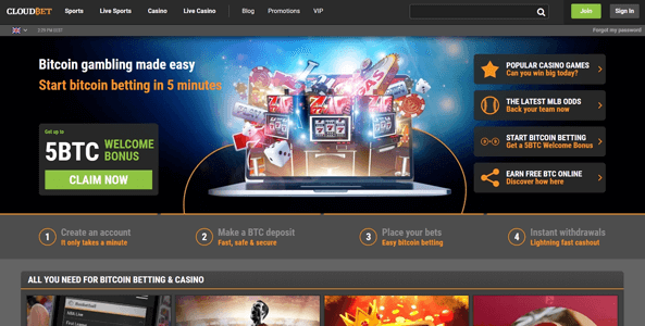 cloudbet website screen