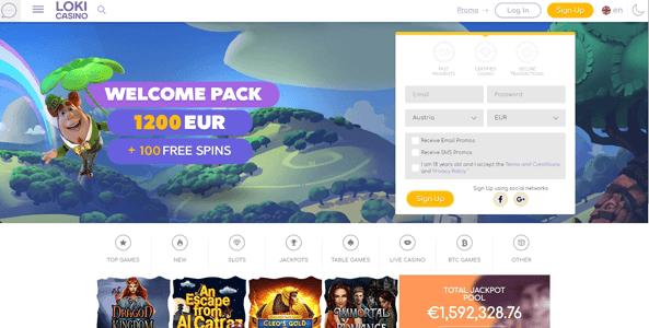 loki casino website screen
