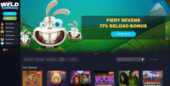 wildtornado casino website screen
