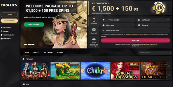 1xslots casino website screen