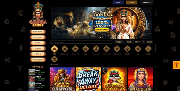 cleopatra casino website screen