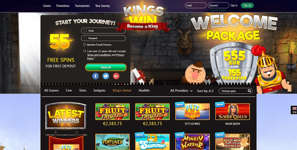 kingswin casino website screen