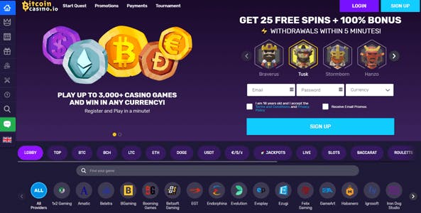 bitcoincasino.io website screen