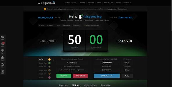 luckygames.io website screen