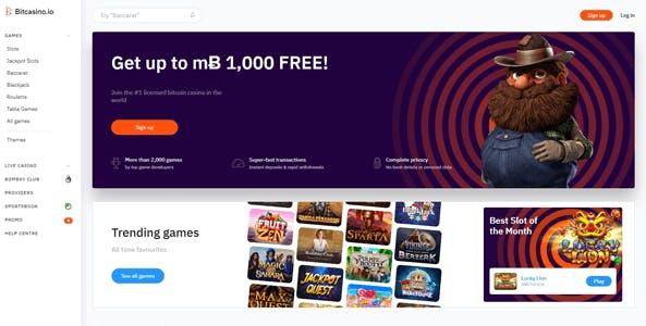 bitcasino.io website screen