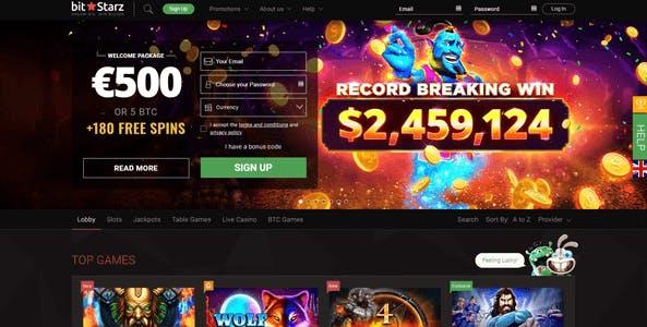 bitstarz casino website screen