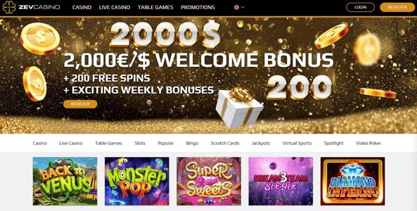 zevcasino website screen