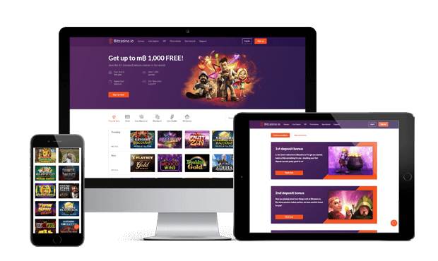 bitcasino.io website screens