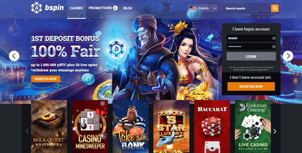 bspin casino website screen