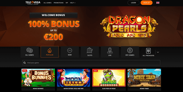televega casino website screen