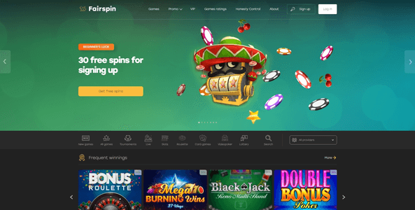 fairspin casino website screen