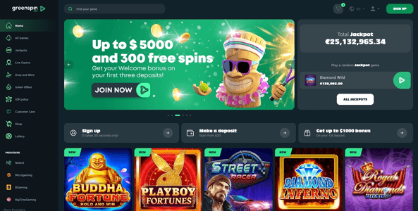 greenspin casino website screen