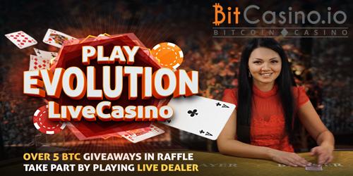 bitcasino.io evolution live casino bitcoin raffle