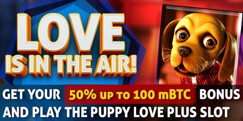 bitcasino.io valentine promotion puppy love promo