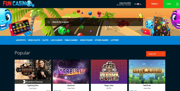 funcasino website screen