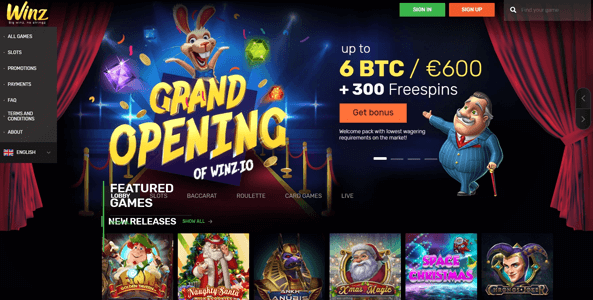 winz casino website preview