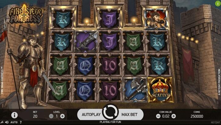 fire siege fortress slot screen