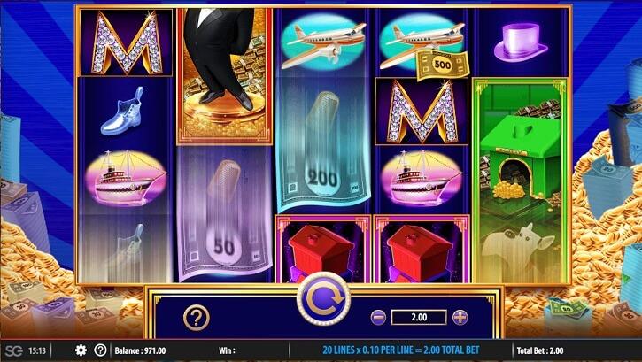 monopoly big money reel slot screen