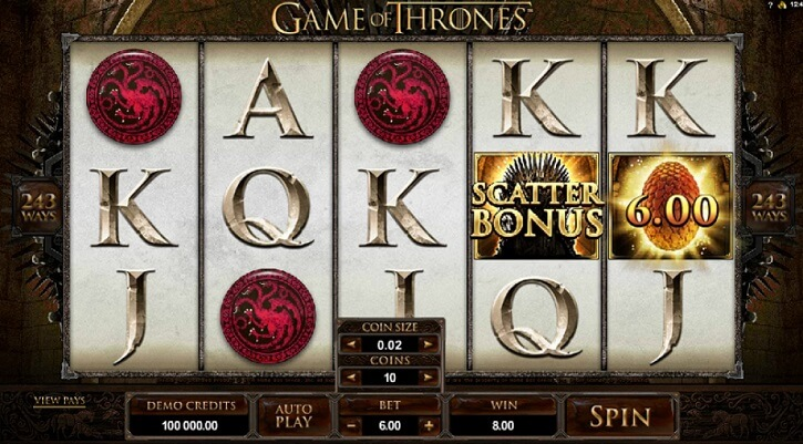 game of thrones slot screen