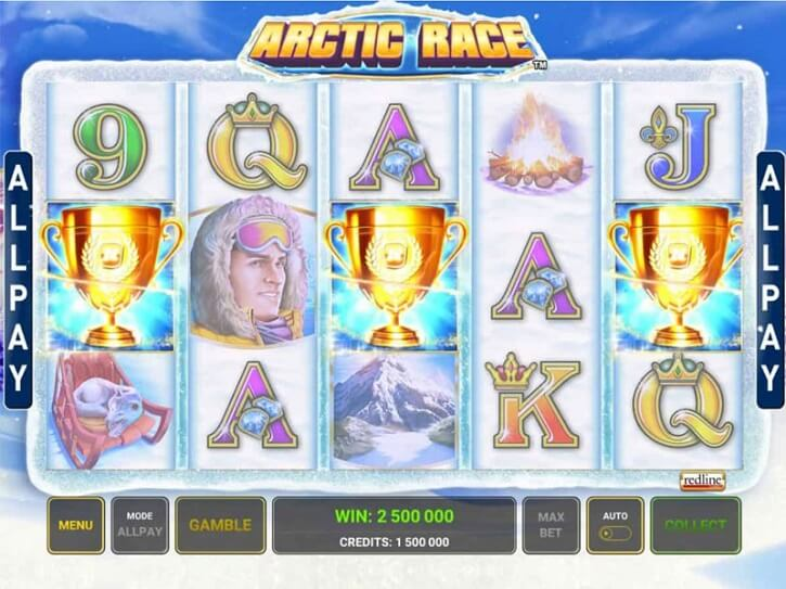 arctic race slot screen