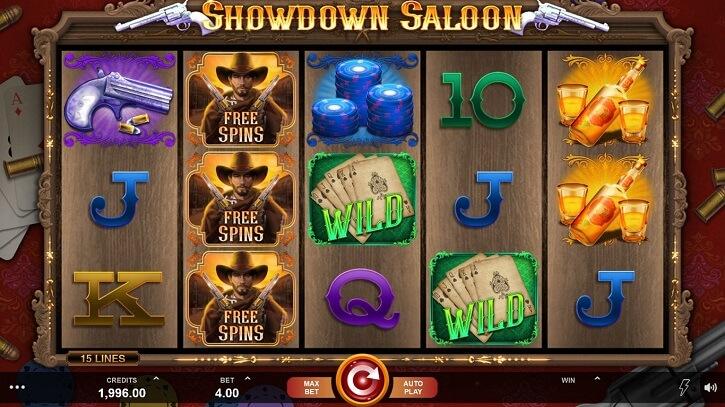 showdown saloon slot screen