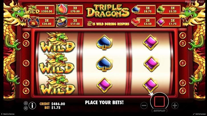 triple dragons slot screen