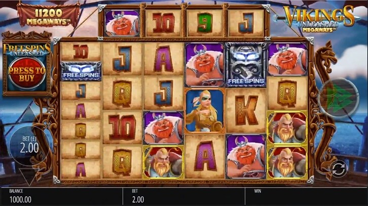 vikings unleashed megaways slot screen