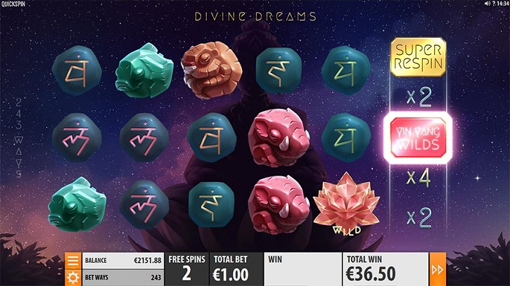 divine dreams slot screen