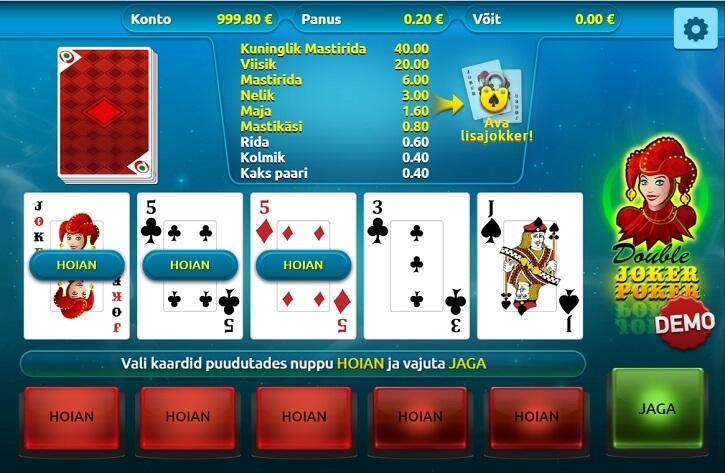 double joker poker slot screen