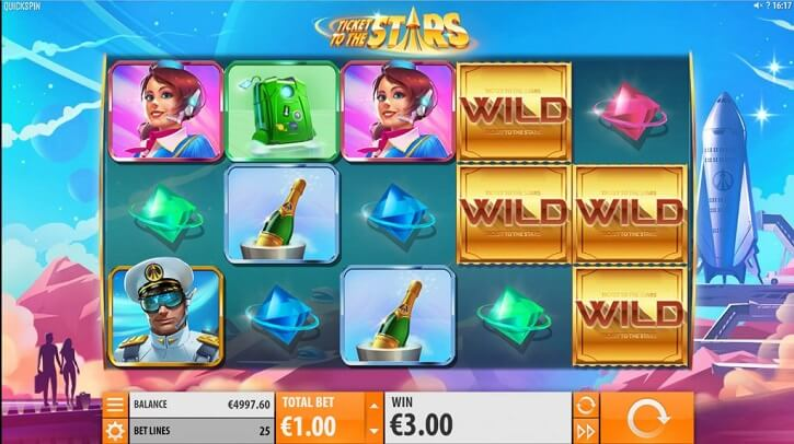 ticket to the stars slot screen