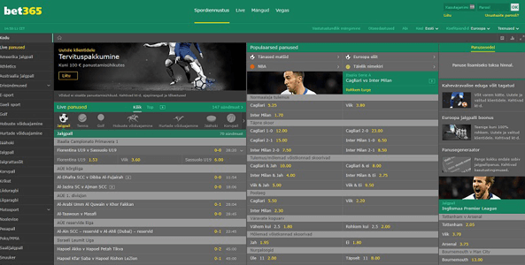 bet365 sports website screen