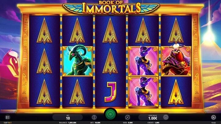 book of immortals slot screen