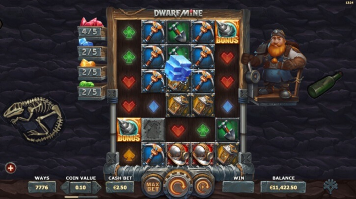 dwarf mine slot screen