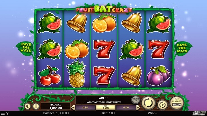 fruit bat crazy slot screen