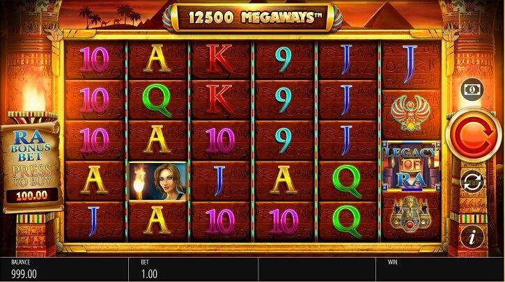 legacy of ra megaways slot screen