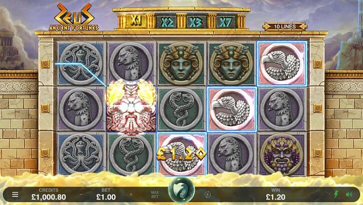 ancient fortunes zeus slot screen