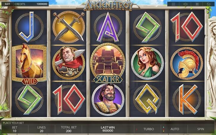ancient troy slot screen