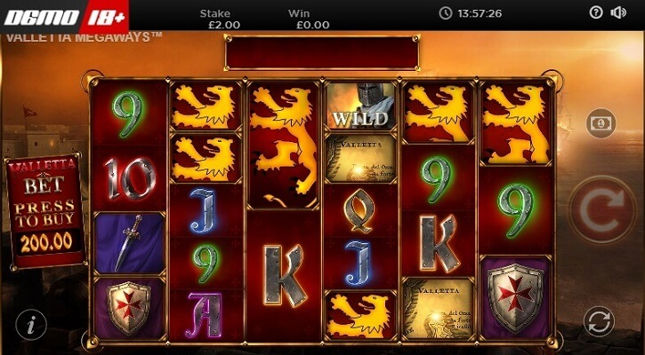 valletta megaways slot screen