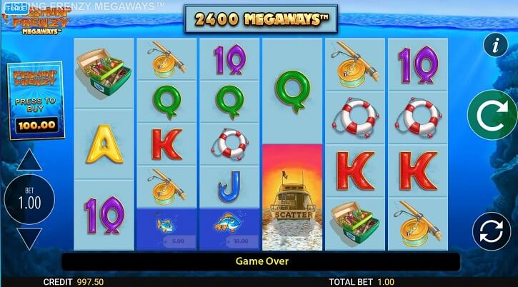 fishin frenzy megaways slot screen