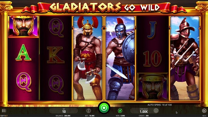 gladiators go wild slot screen
