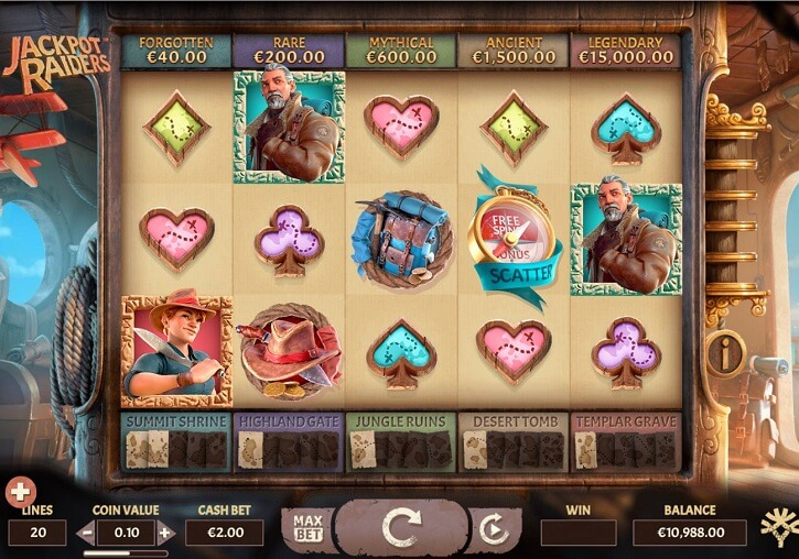 jackpot raiders slot screen