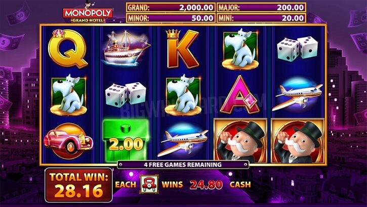 monopoly grand hotel slot screen