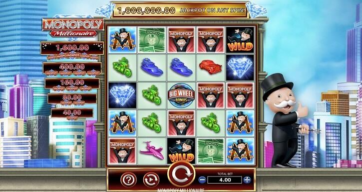 monopoly millionaire slot screen