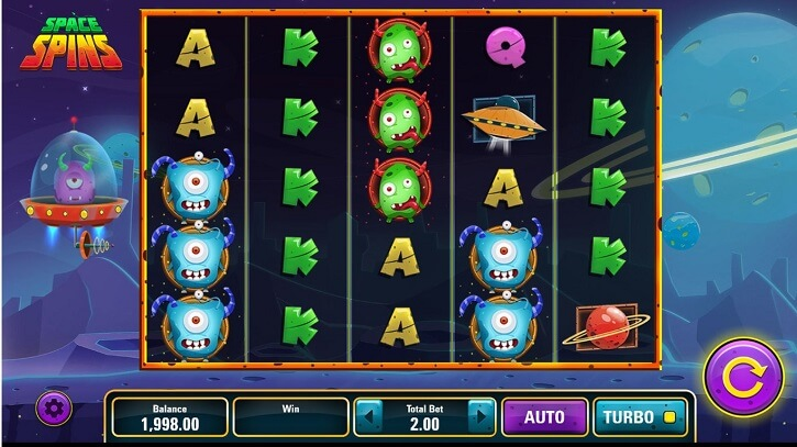 space spins slot screen