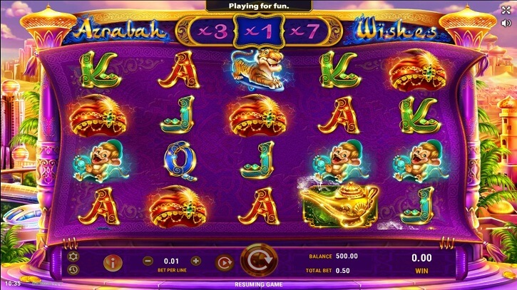 azrabah wishes slot screen