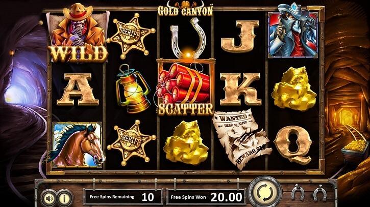gold canyon slot screen