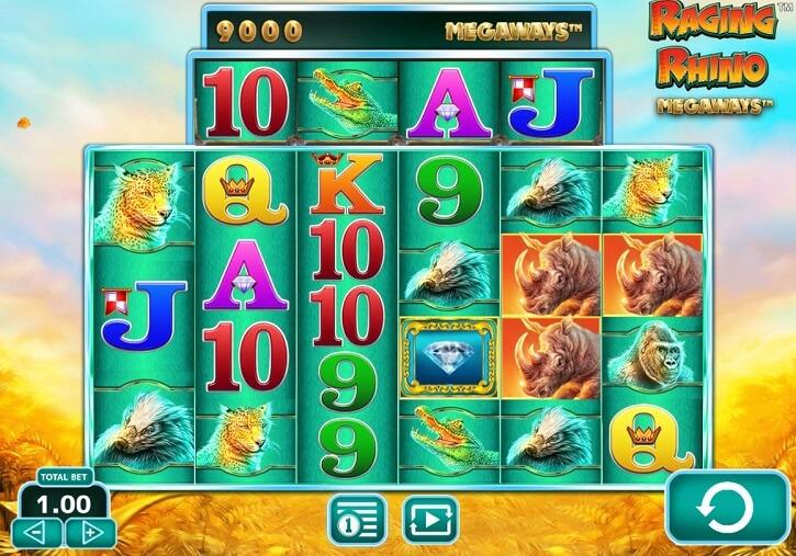 raging rhino megaways slot screen