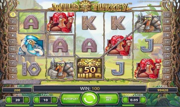 wild turkey slot screen