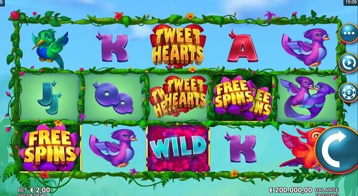 tweet hearts slot screen